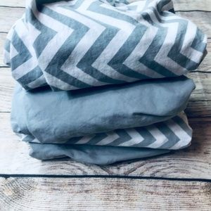 Set of 4 Fitted Play Yard Sheets Chevron/grey